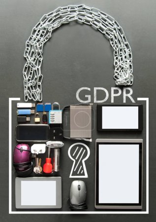 Photo for GDPR handwritten inside a padlock made from various devices including tablets, computer mouse, usb cards - Royalty Free Image