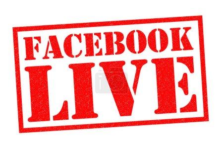 Photo pour FACEBOOK LIVE Timbre en caoutchouc rouge sur fond blanc . - image libre de droit