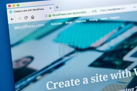 Photo pour LONDON, UK - JANUARY 25TH 2018: The homepage of the official website for WordPress - the online content management system, on 25th January 2018. - image libre de droit