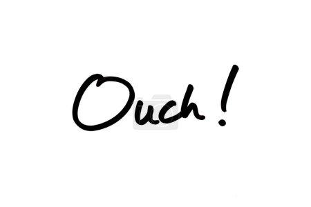 Photo pour Gros plan sur le mot Ouch ! écrit à la main sur fond blanc. - image libre de droit