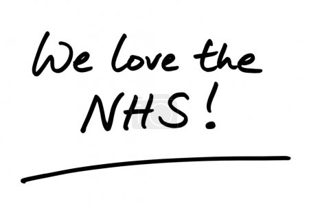 Photo pour On adore le NHS ! manuscrit sur fond blanc . - image libre de droit