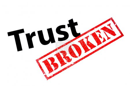 Photo pour A Trust heading with a red BROKEN rubber stamp. - image libre de droit