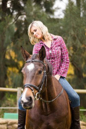 Beautiful elegance   cowgirl with horse