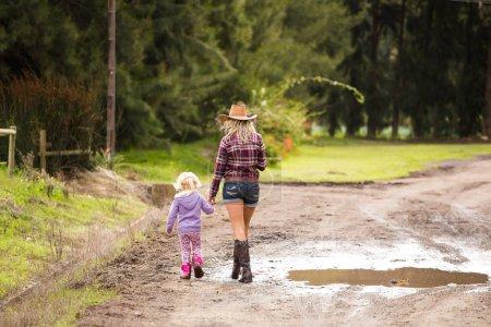 woman  with little girl walking