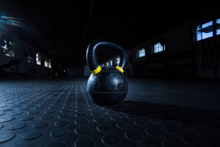 Close up wide angle view of a kettle bell