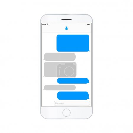 Illustration for Mobile phone  screen messaging text boxes empty bubles anonymous chat design on smartphone  screen - Royalty Free Image