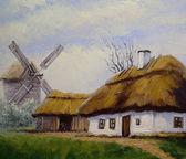 """Постер, картина, фотообои """"Деревня, сельские картины маслом пейзаж, изобразительного искусства. Весна."""""""