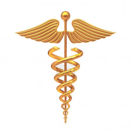 Photo for Gold Medical Caduceus Symbol on a white background. 3d Rendering - Royalty Free Image