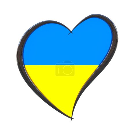 Photo pour Ukraine Flag Inside Heart. Eurovision Song Contest 2017 in Ukraine on a white background. 3d Rendering - image libre de droit