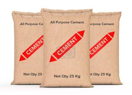 Paper Sacks Cement Bags. 3d Rendering