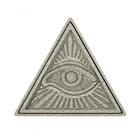 Photo pour Masonic Symbol Concept.  All Seeing Eye inside Pyramid Triangle as Stone on a white background. 3d Rendering. - image libre de droit