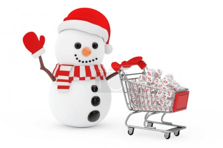 Christmas Sale Concept. Snowman in Santa Claus Hat Driven by a S