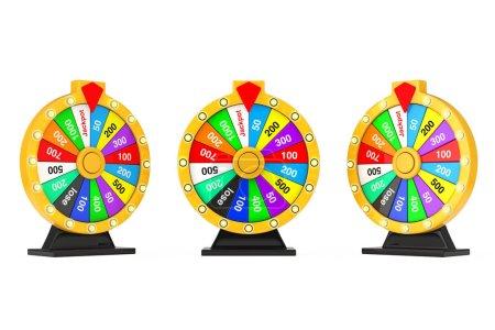Photo pour Chance et Fortune Concept. Roue de fortune colorée tournant sur un fond blanc. Rendu 3d - image libre de droit