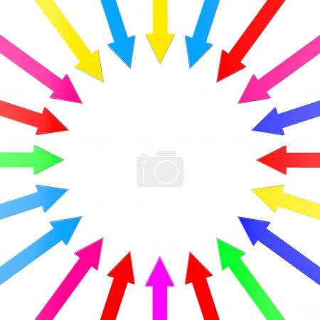 Photo pour Flèches multicolores tournantes pointant vers le centre sur un fond blanc. Rendu 3d - image libre de droit