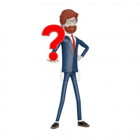 Photo for Cartoon Character Businessman with Red Question Mark in Hand on a white background. 3d Rendering - Royalty Free Image
