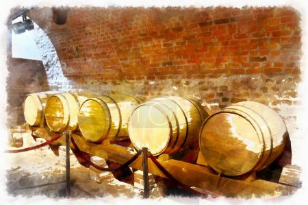 Watercolor painting from the cellars of the old castle, wine cellar