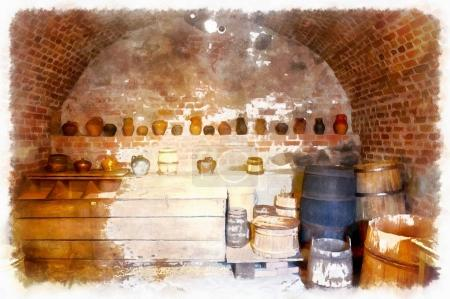 A watercolor drawing of the cellars of the old castle, utensils