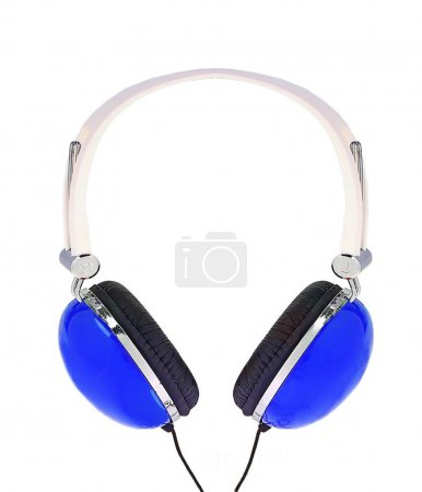 blue modern headphones isolated on white