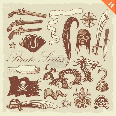 Illustration for Freehand illustration featuring pirate related sketches. Layered vector set. - Royalty Free Image