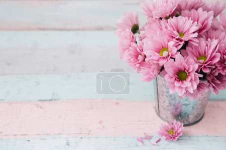 Shabby chic pink flowers. Copy space. Mothers day concept