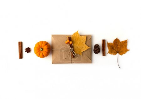 Autumn composition. Flat lay