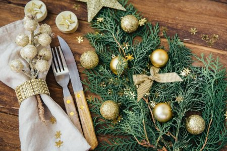 Christmas and New year table place setting