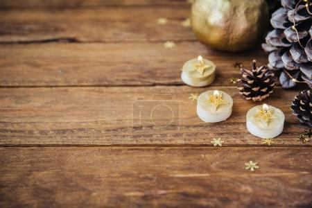 Christmas wooden background with copy space