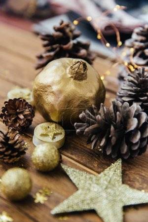 Christmas background with pine cones