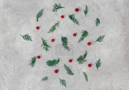 Beautiful christmas composition with fir branches. Flat lay, top vie