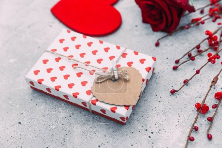 St. Valentines Day concept.  gift box on wooden table