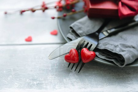 Romantic dinner concept. Valentine day table setting background.