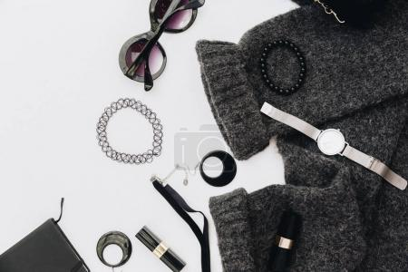 Flat lay fashion accessories with keyboard. Beauty blogger minimal concept