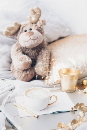 Cute toy lying in the bed. Cute toy lying in the bed, Still life concept. Cozy home