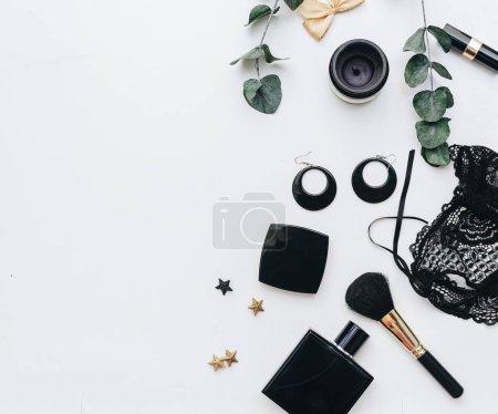 Black Female accessories. Flat lay, fashion background