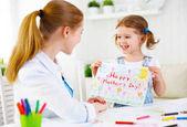 Dítě dívka malované pohlednice pro maminku na den matek