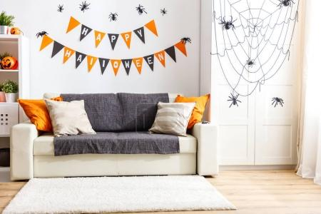 interior of   house decorated for   holiday halloween