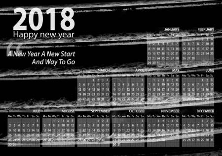 calendar 2018 happy new year with grille car  background