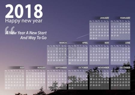 calendar 2018 happy new year with sky and mountain silhouette  background