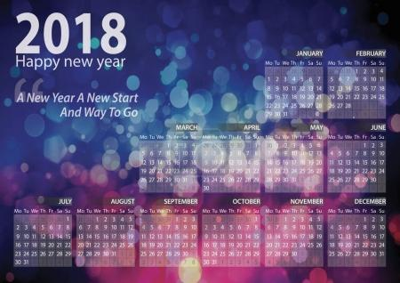 calendar 2018 happy new year with bokeh background