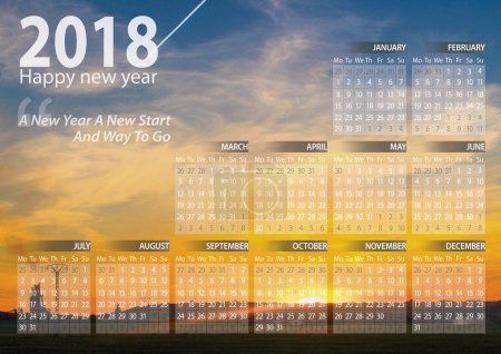 calendar 2018 happy new year with sunset in algeria  background