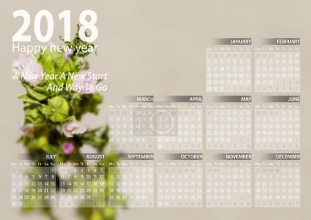 calendar 2018 happy new year with flowers background
