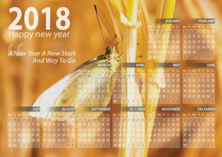 calendar 2018 happy new year with butterfly animal background