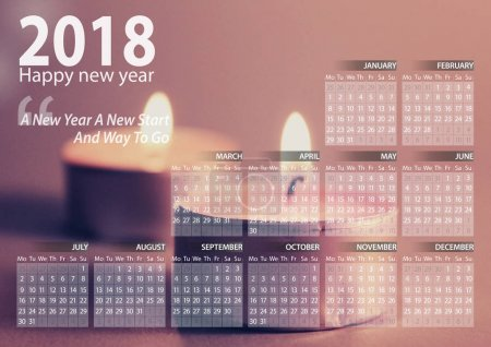 calendar 2018 happy new year with candle background