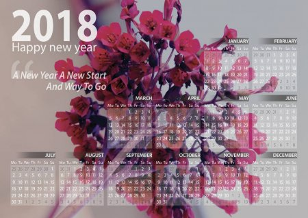 calendar 2018 happy new year with pink  flower background