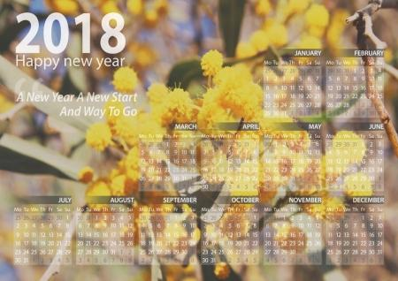calendar 2018 happy new year with mimosa flower background