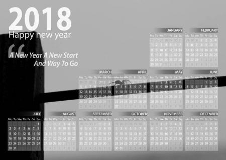 calendar 2018 happy new year with black and white spider on line background