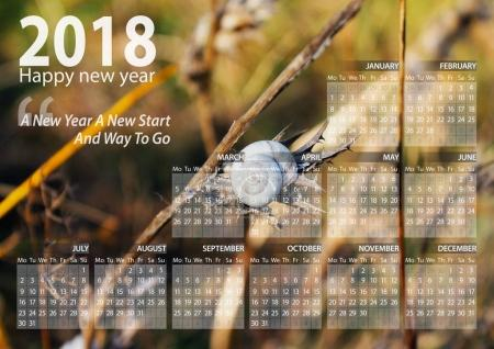 calendar 2018 happy new year with snail above the branch background