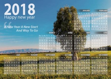 calendar 2018 happy new year with beautiful landscape of one tree alone in algeria background