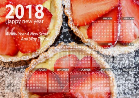 calendar 2018 happy new year with three strawberry mini pie with cream background