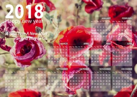 calendar 2018 happy new year with pink and red flowers  background